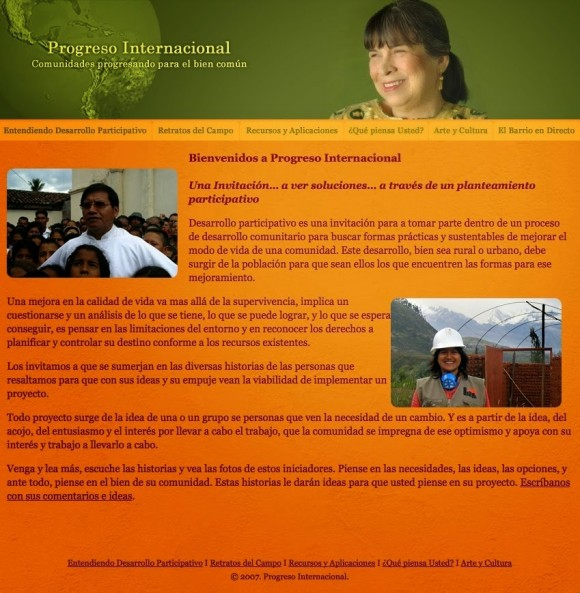 """Sitio de """"Progreso internacional""""."""