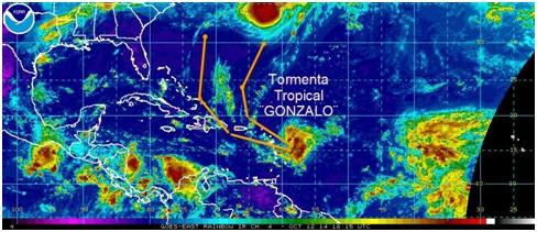 Nueva Tormenta Tropical ¨GONZALO¨ y el cono de pronóstico. Puede pasar con clasificación de huracán próximo a Puerto Rico, mientras que después se dirigirá por el Atlántico, primero al noroeste y luego hacia el norte.
