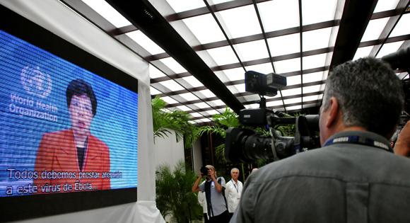Proyectan mensaje de Margaret Chan, directora general de la Organización Mundial de la Salud, al ALBA-TCP. Foto: Ladyrene Pérez/ Cubadebate.
