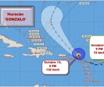 ¨GONZALO¨ azota  a las islas del extremo norte de las Antillas Menores. Posición del Huracán a las 8 PM del 13 de octubre de 2014 y su cono de pronóstico. Obsérvese la velocidad de los vientos máximos sostenidos del día 12 a las 8 PM con la de la misma hora del día 13, 24 horas después. La diferencia es de 60 km/h, de una tormenta tropical débil a un Huracán Categoría 1 en la mediación de la escala.
