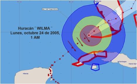 Huracán Wilma, lunes 24 de octubre de 2005. Posición a la 1 AM, cuando los fuertes vientos del noroeste asociados a su circulación, lanzaban fuertes olas desde el golfo de México sobre la Capital cubana.