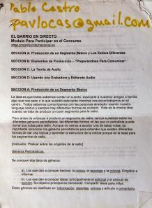 """Bases de """"El Barrio en directo"""" con el email de Pablo Castro."""