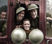 tropas británicas en la primera etapa de su viaje a las líneas del frente en Inglaterra, 1939..