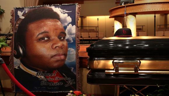 Imagen tomada en el funeral de Michael Brown. Foto: AP (Archivo).