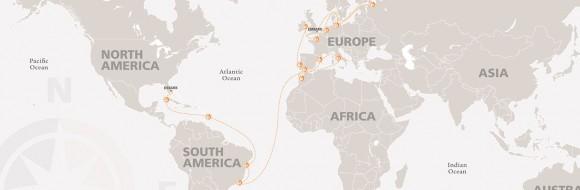 Itinerario de Semestre en el Mar 2015.