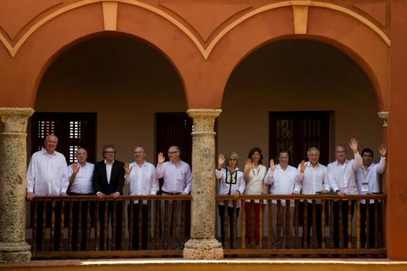 Los cancilleres del Mercado Común del Sur y la Alianza del Pacífico, reunidos este sábado en Cartagena, Colombia. Foto: AVN