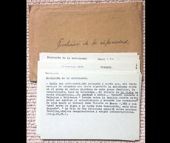 Notas de Gabriel García Márquez para 'El general en su laberinto'. Imagen tomada de la página de la Universidad de Texas.