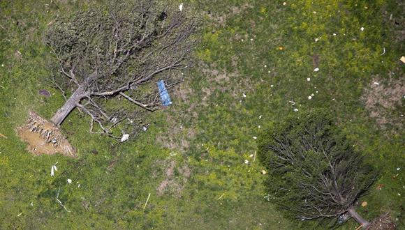 Árboles arrancados se representan después de un tornado golpeó Vilonia, Arkansas, el 29 de abril de este año. Foto: Carlo Allegri