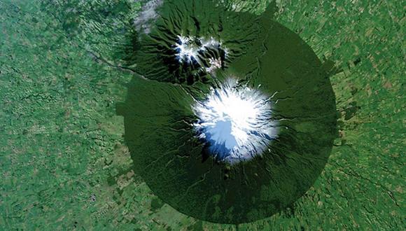 Imagen tomada por el satélite Landsat 8 del Monte Taranaki en el Parque Nacional Egmont en Nueva Zelanda. Foto: Reuters