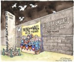 """Caricatura sobre el bloqueo contra Cuba, publicada en """"Político"""", el 12 de noviembre de 2014."""