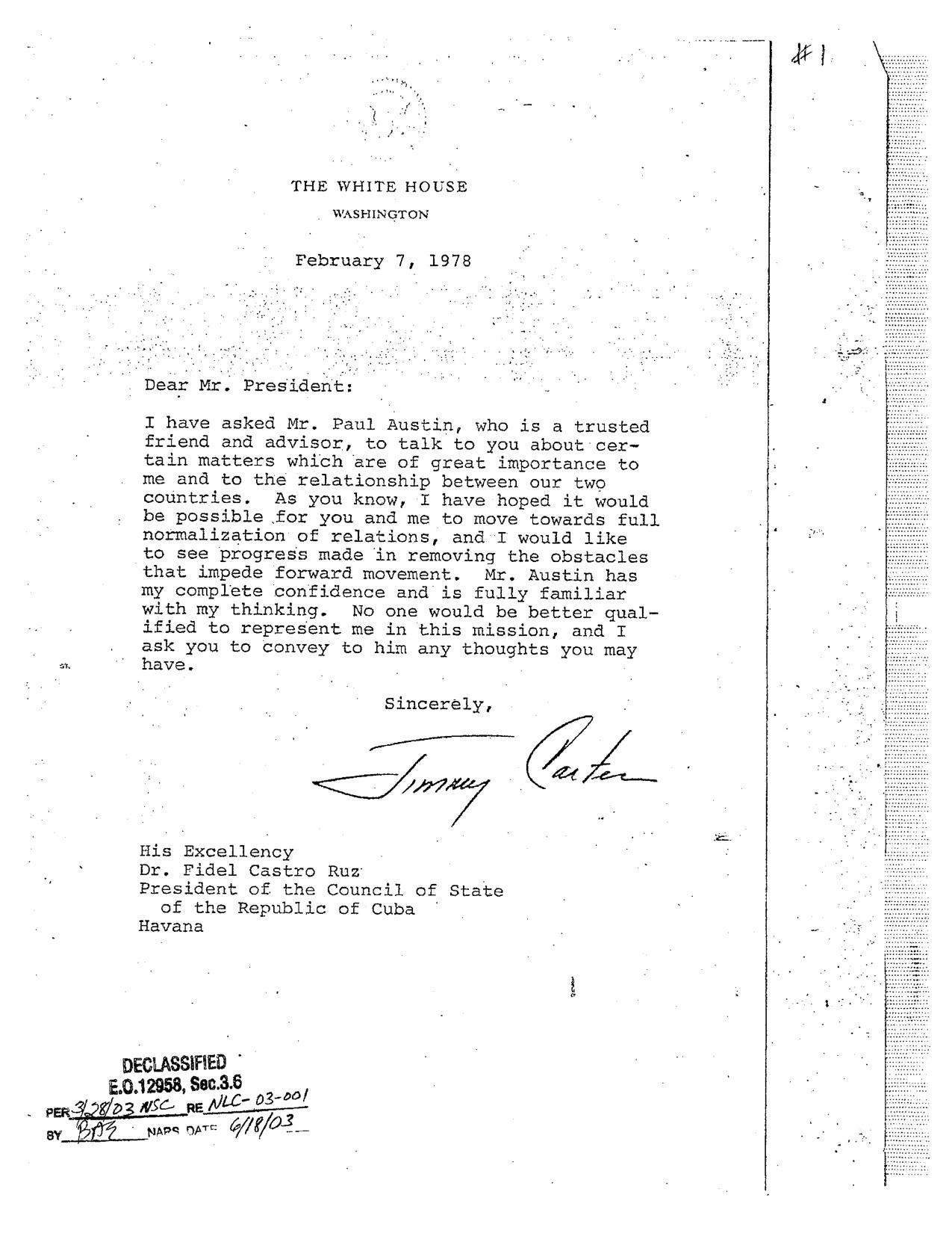 Fidel, Carter y las misiones secretas de Paul Austin | Cubadebate