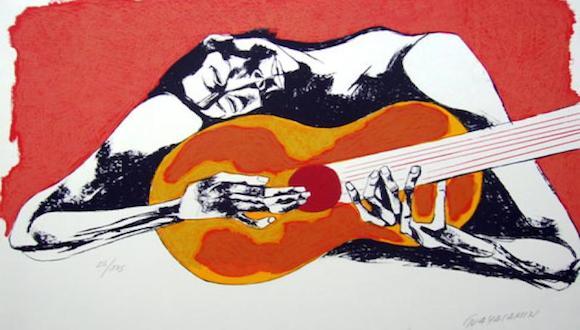Osvaldo Guayasamín en esta obra resume el permanente dolor y sufrimiento de los pueblos El guitarrista El guitarrista  gitanos que caminan como nómadas por el mundo.