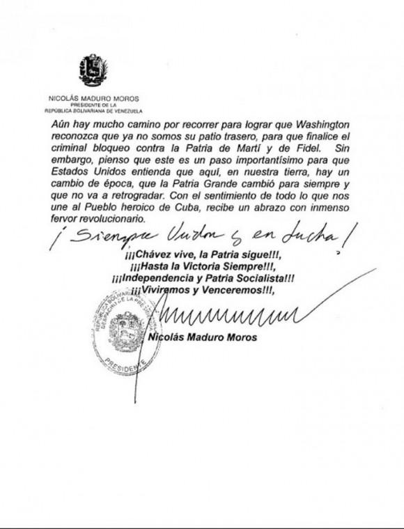 Cartas de Maduro a Fidel y Raúl4