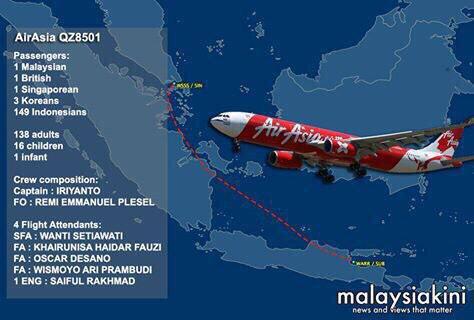 Desaparece avión de AirAsia con 162 pasajeros cerca de las islas de Borneo