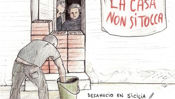 Desahucio en Sicilia. Una pareja de ancianos se parapetan en su casa como protesta. Ésta es una de las informaciones que pueden verse en Dibunews