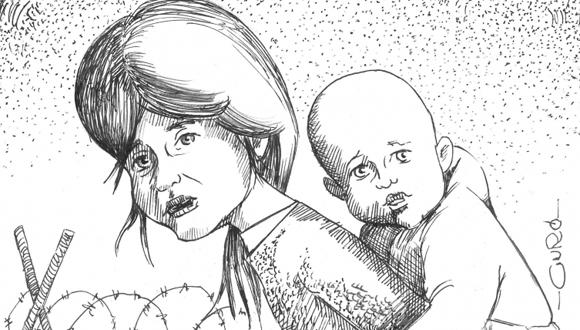 """En la parte inferior izquierda de esta ilustración hay un texto que dice: """"URUGUAY en septiembre llegarían al país, los primeros niños huérfanos sirios"""""""