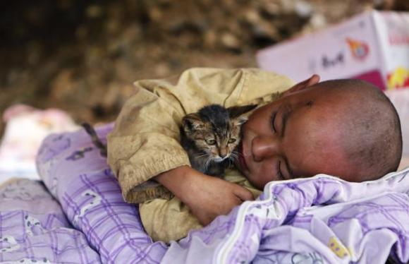 Un niño abraza un gato, mientras descansa en un refugio en la zona donde ocurrió el terremoto en el condado de Ludian, en la provincia de Yunnan este 5 de agosto de 2014. Un terremoto ocurrido en China durante el f