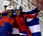 Marlies Mejías, Oro y Yudelmis Domínguez Plata en la persecusión individual de los Centroamericanos. Foto: Ismael Francisco/ Cubadebate.