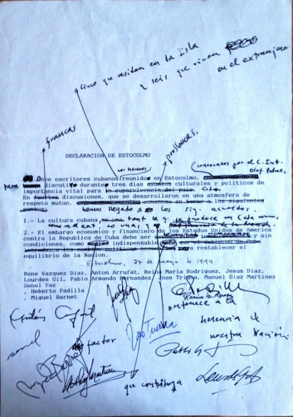 Borrador de la Declaración de Estocolmo con todas las firmas, no se había publicado nunca hasta hoy.