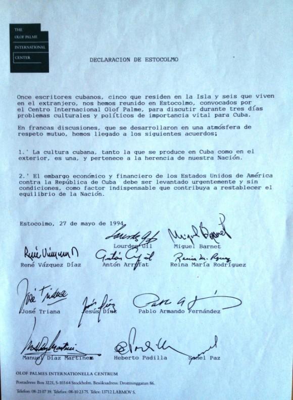 Declaración de Estocolmo con todas las firmas.