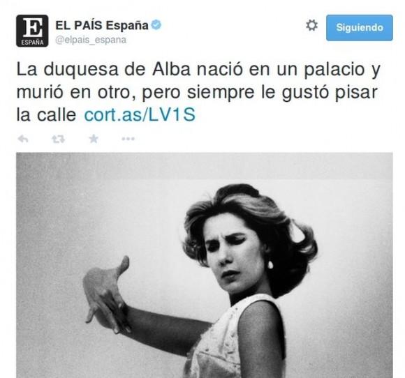 Captura de un tuit de 'El País'.