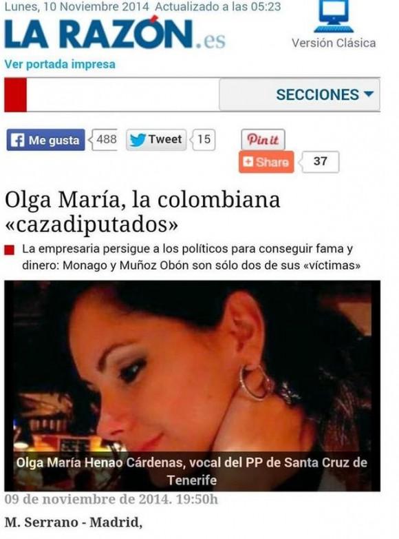 Captura de la página web de 'La Razón'.