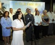 Alina Balseiro, presidenta de la Comisión Electoral Nacional, durante su intervención en el acto de toma de posesión, realizado en el Memorial José Martí, en La Habana, Cuba, el 6 de enero de 2015.  AIN FOTO/Abel PADRÓN PADILLA