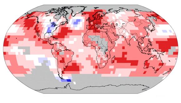 Records de calor (rojo) y de frío (azul) en 2014. Foto: NOAA