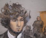 Boston Marathon bombing suspect Dzhokhar Tsarnaev is shown in a courtroom sketch during a pre-trial hearing at the federal courthouse in Boston, Massachusetts December 18, 2014. REUTERS/Jane Collins