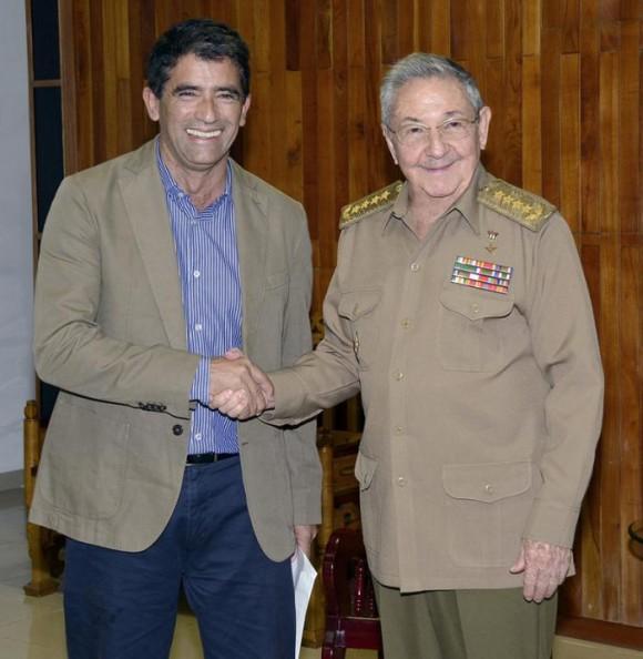 Raúl con vicepresidente uruguayo