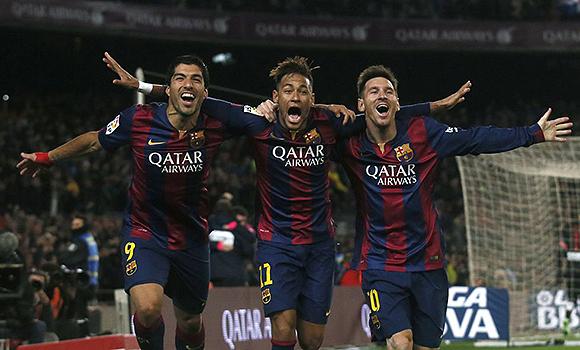 Luis Suárez, Neymar y Messi, protagonistas del encuentro. Foto: Reuters