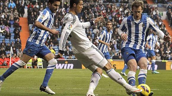 Cristiano Ronaldo en un partido contra la Real Sociedad. Foto: EFE