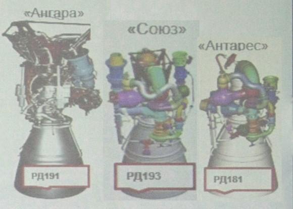 Los tres motores de kerolox de una cámara de combustión de NPO Energomash (Novosti Kosmonavtiki).