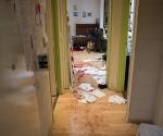 Interior de la redacción del semanario satírico 'Charlie Hebdo' tomada poco después del ataque. Foto: Twitter