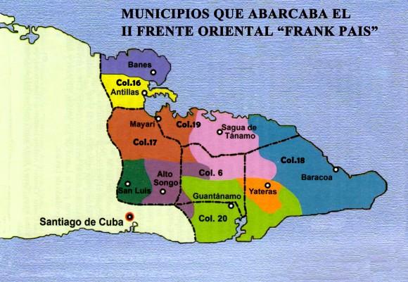 """Mapa del territorio que abarcaron las columnas del Frente Oriental """"Frank País""""."""