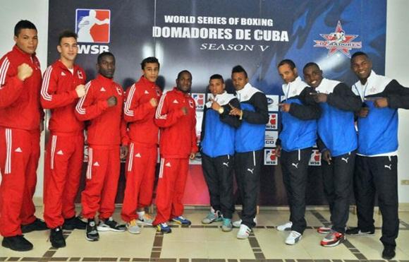Domadores de Cuba (derecha) y Lionhearts británicos (izquierda) medirán fuerzas en la Serie Mundial de Boxeo. Foto: Jose M. Correa
