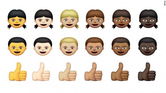 Los nuevos emoticonos con distintos colores de piel.