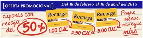 Ofrece ETECSA promoción de recarga del servicio Nauta.