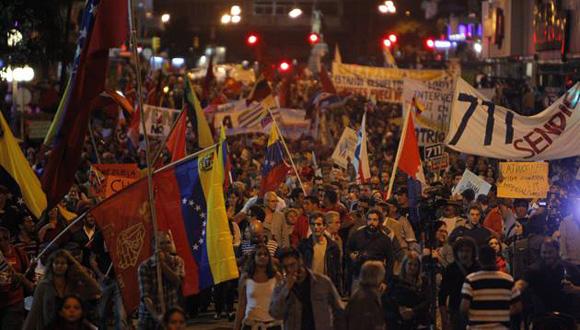 Mujica en manifestación