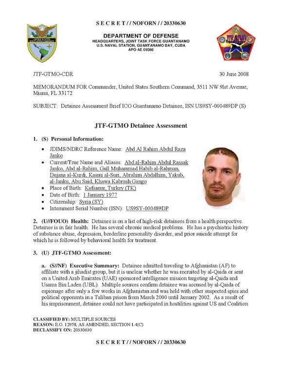 El expediente en Guantánamo de Abdul Rahim Abdul Razak Al Janko.