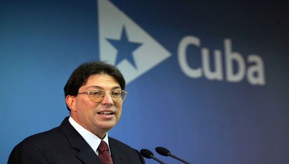File picture of Rodriguez addressing the media at the Foreign Ministry in Havana