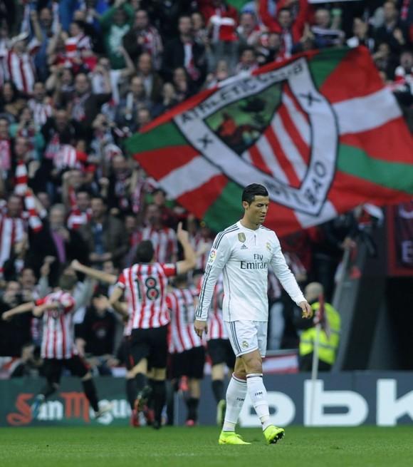 Cristiano decepcionado ante el gol del Athletic. Foto AFP