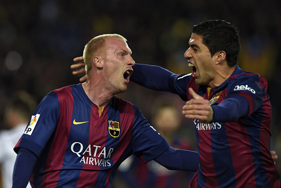 Luisito y Mathieu, autores del 2-1 frente al Madrid. Foto: AS