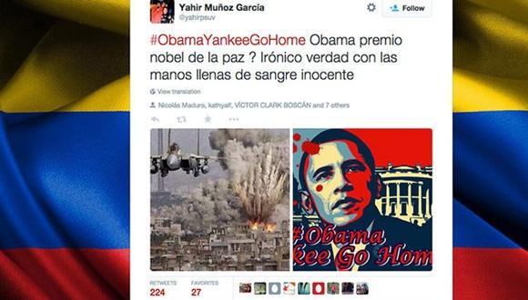 La etiqueta #ObamaYankeeGoHome se ha hecho viral en la red social Twitter y se ha posicionado como 'trending topic' después de que Barack Obama anunciara nuevas sanciones contra Venezuela.