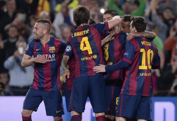 El conjunto culé celebra uno de los goles. Foto: AFP