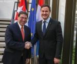 El Canciller cubano Bruno Rodríguez junto al Primer Ministro de Luxemburgo Xavier Bettel. Foto: Gobierno de Luxemburgo