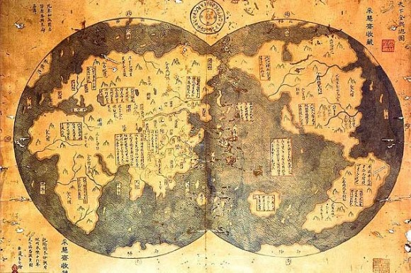 He bases his theory on an alleged 18th century copy of a 1418 map charted by Chinese Admiral Zheng
