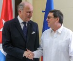 Laurent Fabius y Bruno Rodríguez