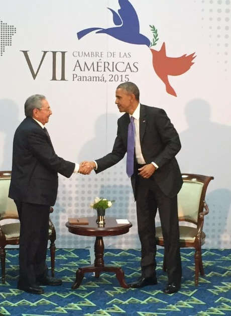 REunión Raúl y Obama