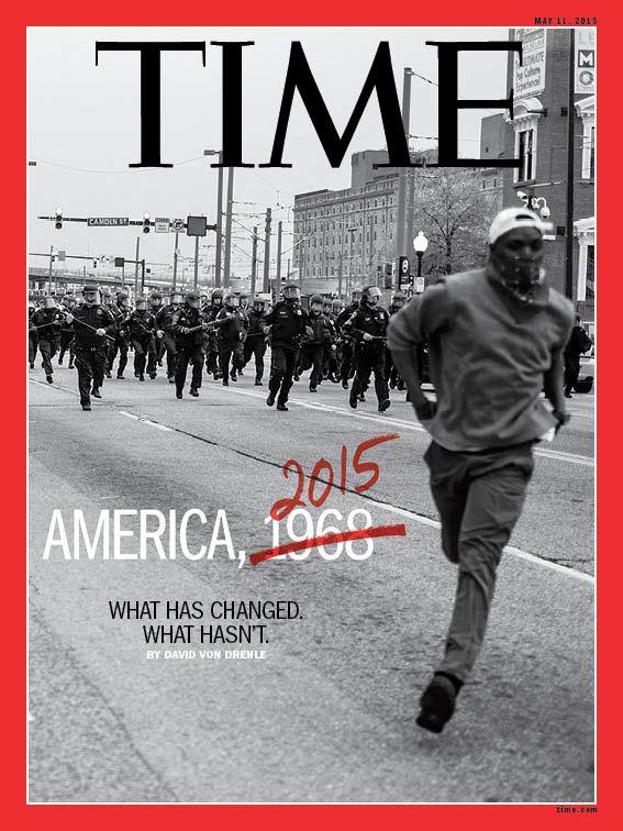 Portada de la revista Time con fotografía de Devin Allen tomada en los disturbios de Baltimore.